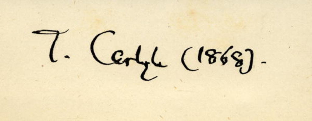 Detail of Signature of Thomas Carlyle in 1868 by English School