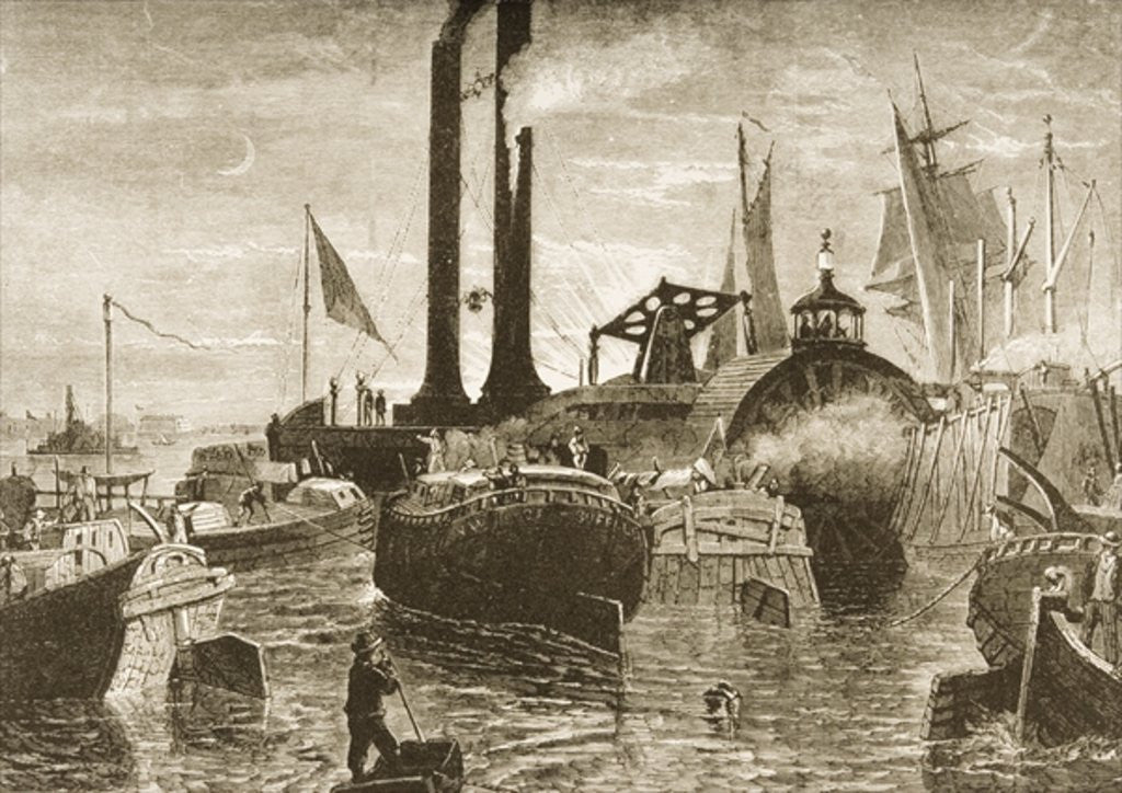 Detail of A grain fleet in New York harbour in the 1870s by Reverend Samuel Manning