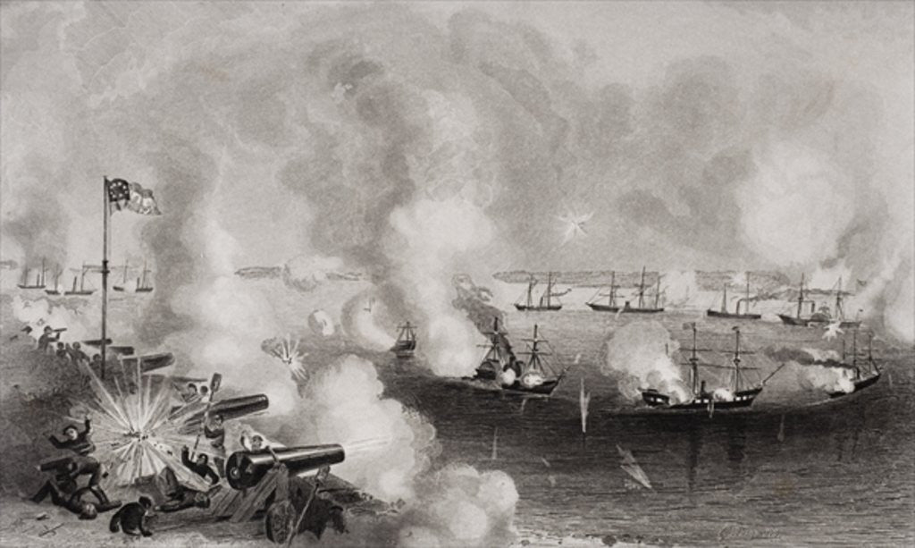 Detail of Bombardment and capture of Forts Walker and Beauregard, Port Royal, South Carolina by American School