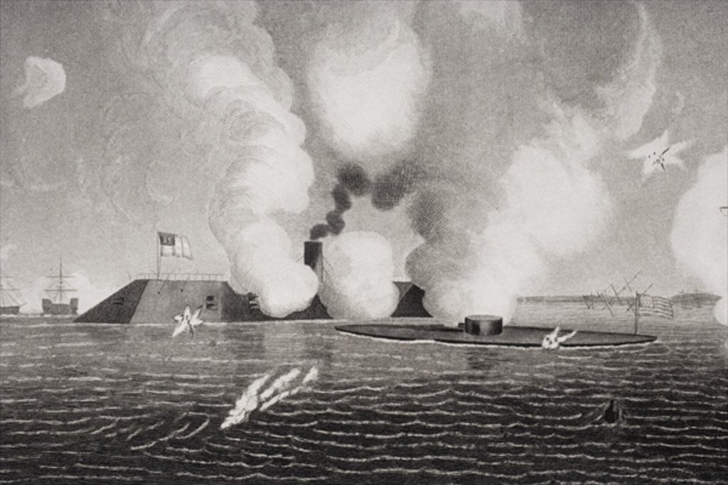 Detail of Combat between the Confederate CSS Virginia (left) and the Union USS Monitor (right) on March 9th 1862 at Hampton Roads, Virginia by American School