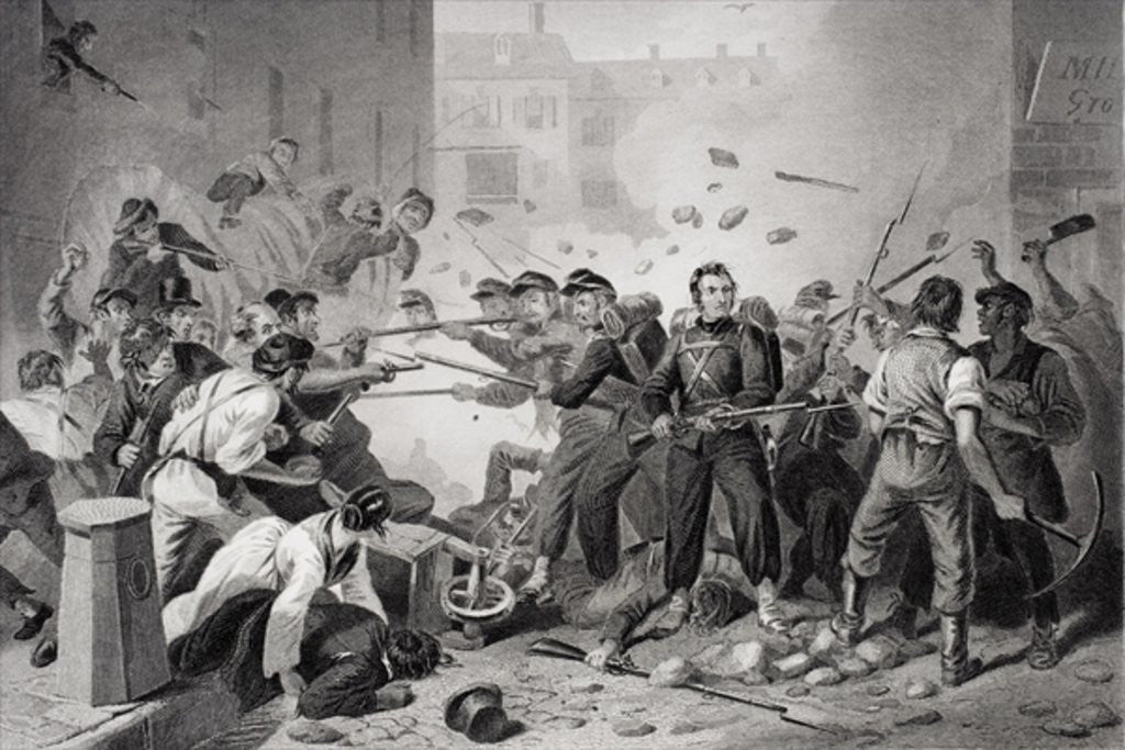 Detail of Massachusetts militia passing through Baltimore, Pennsylvania by Felix Octavius Carr Darley
