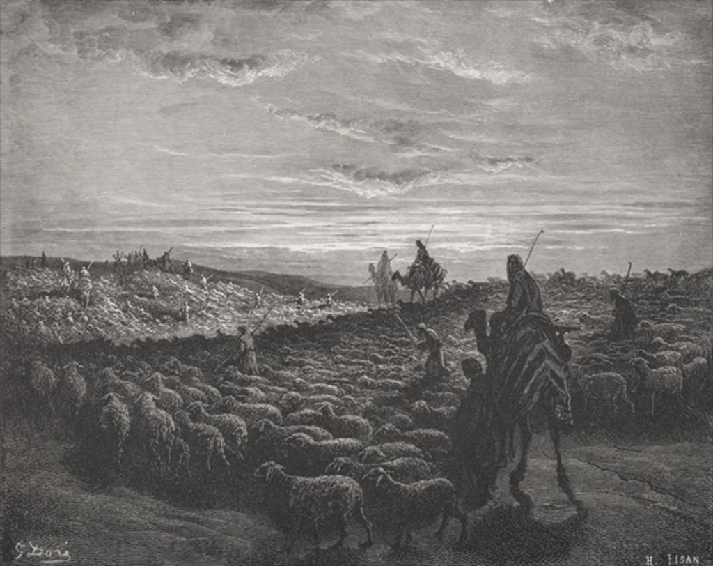 Detail of Abraham Journeying Into the Land of Canaan, Genesis 13:1-4 by Gustave Dore