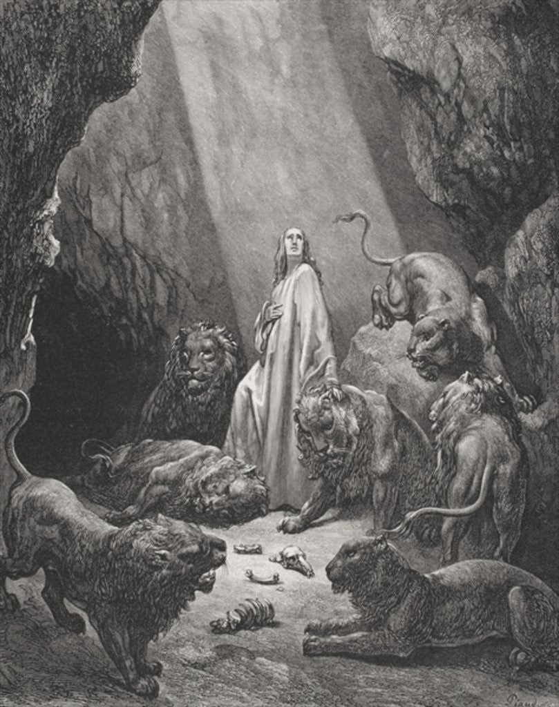 Detail of Daniel in the Den of Lions, Daniel 6:16-17 by Gustave Dore