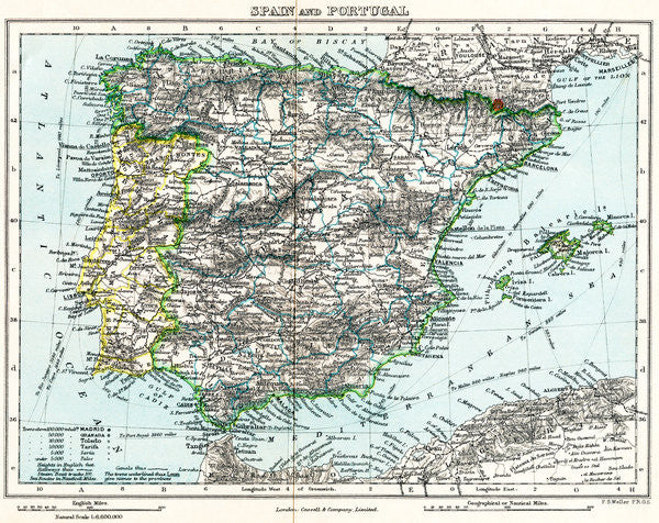 Map Of Spain Geography.Map Of Spain And Portugal From Milner S Gallery Of Geography