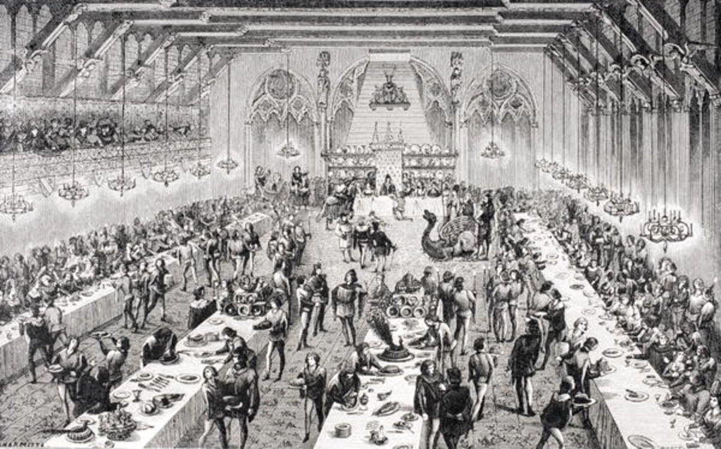 Detail of Grand Ceremonial Banquet at the French Court in the 14th century by from 'Le Moyen Age et La Renaissance' by Paul Lacroix published 1847