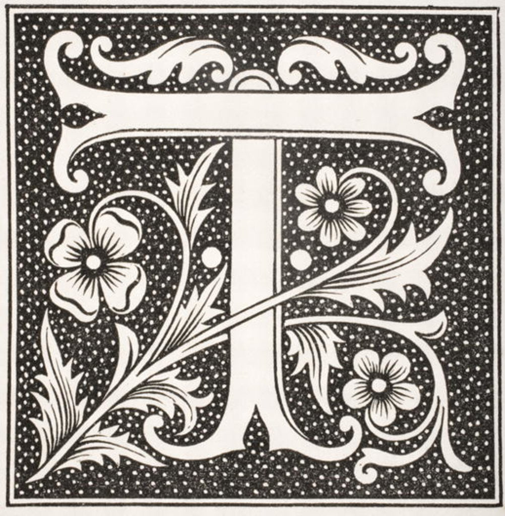 Detail of Decorated letter 'T' by French School