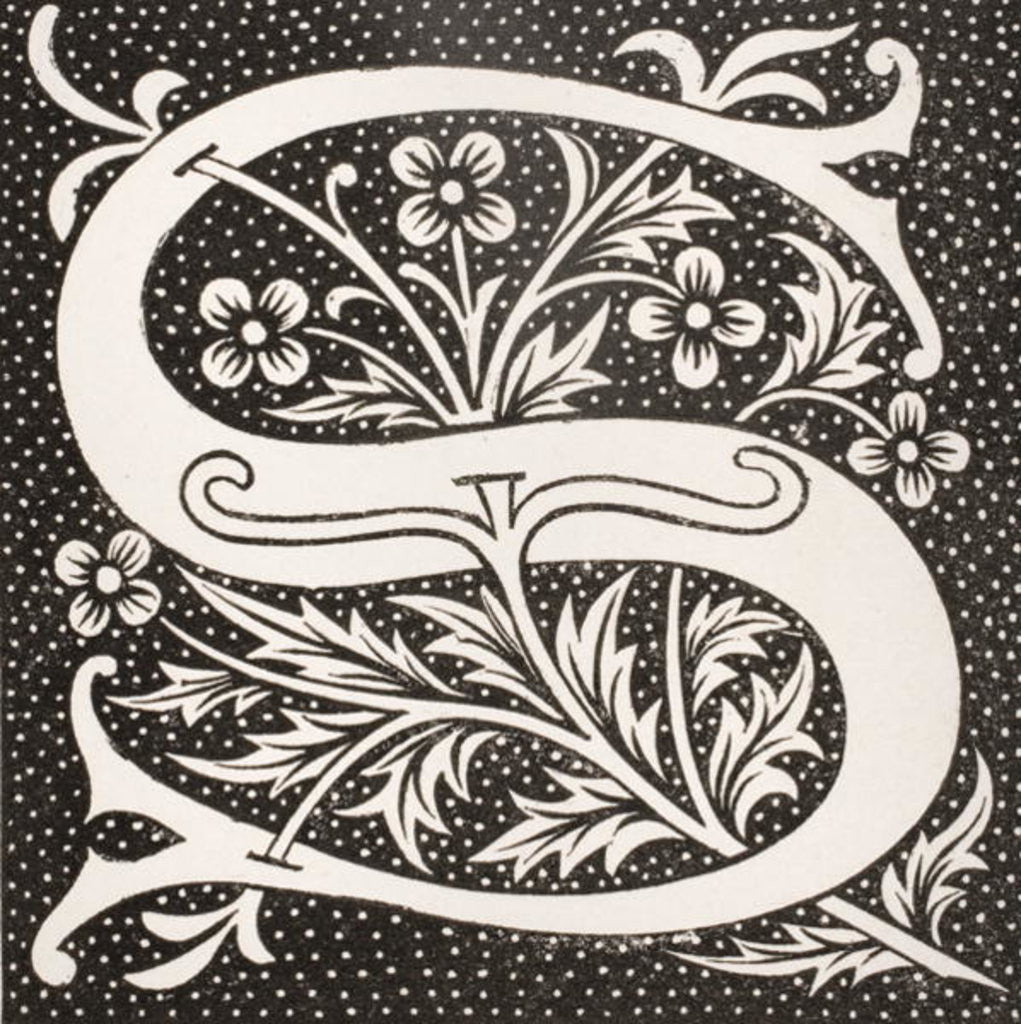 Detail of Decorated letter 'S' by French School