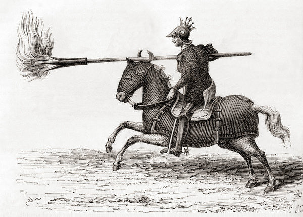 Detail of A medieval knight carrying a fire lance, or fire spear, one of the first gunpowder weapons in the world by French School
