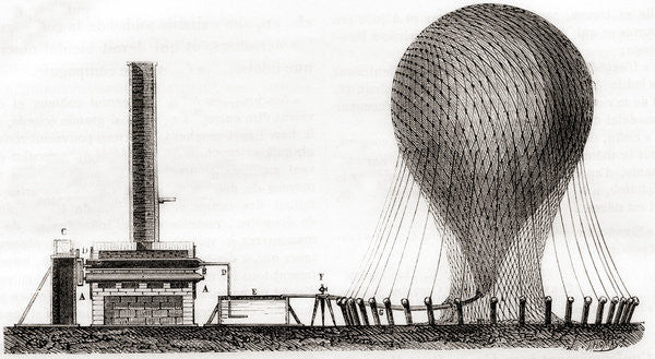 Detail of Device used to fill L'Entreprenant, the first hot air balloon used by the military, with hydrogen gas in the 18th century by French School