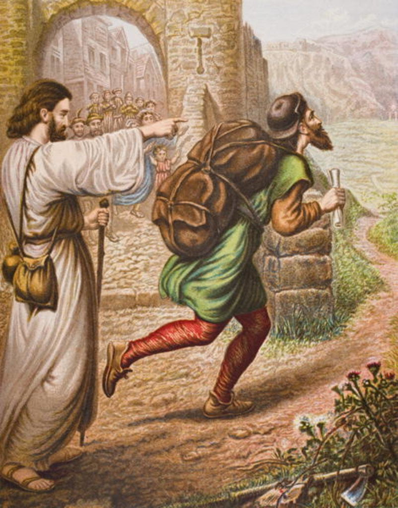 Detail of Evangelist directs Christian on his way by English School