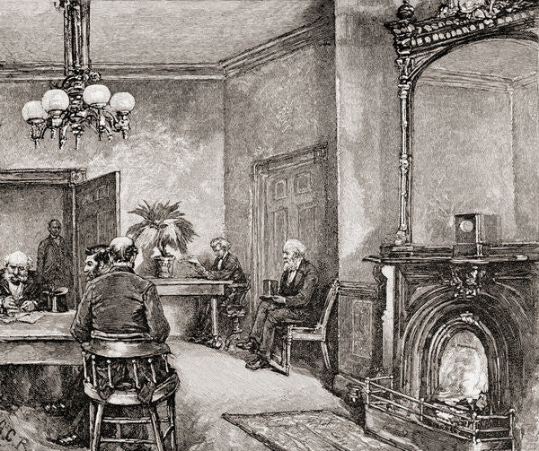 Detail of The waiting room in the White House, Washington D.C., in the 19th century by American School