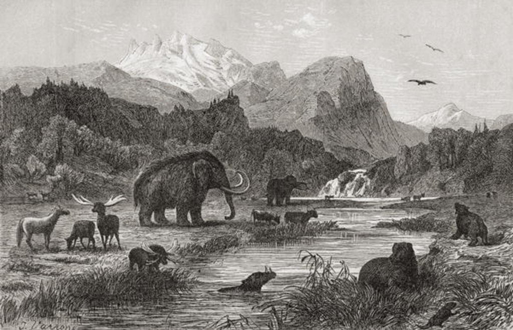 Detail of Pliocene Landscape by English School