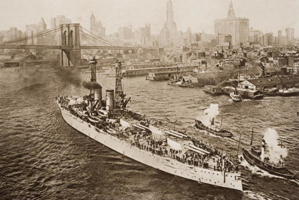 Detail of The United States Battleship, Texas, Setting out from New York Harbour by English School
