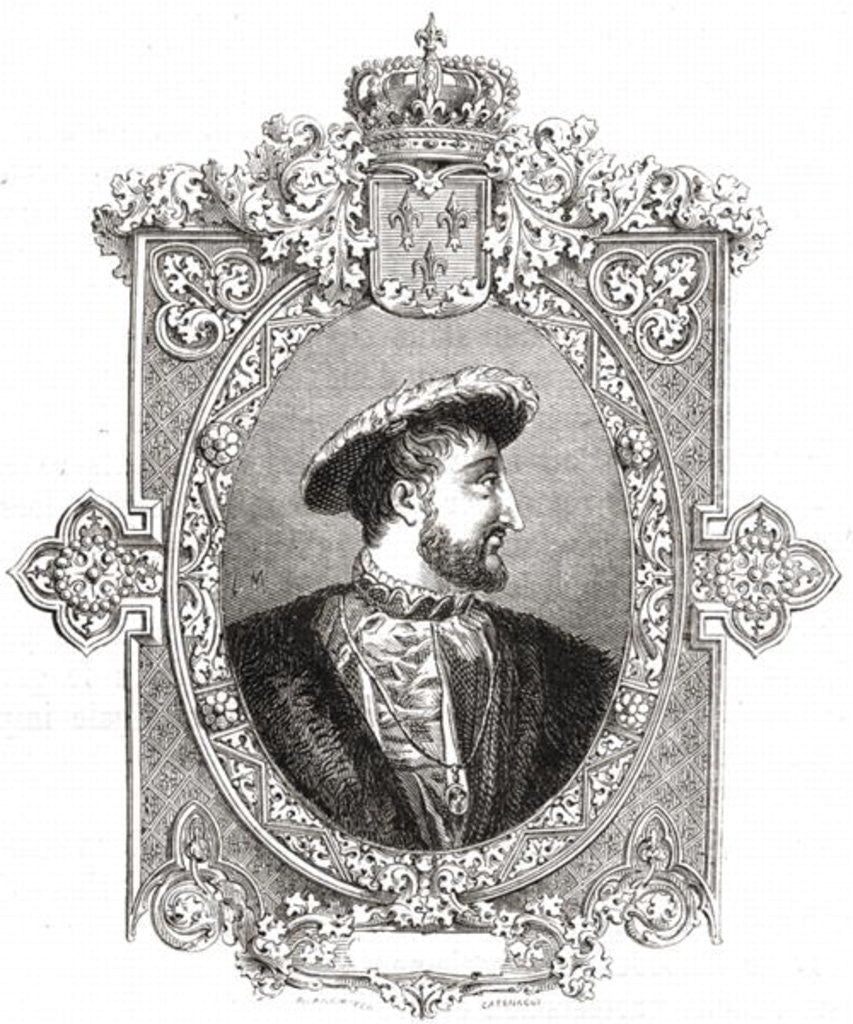 Detail of Francois I, engraved by Pannemaker-Ligny by Hercule Catenacci