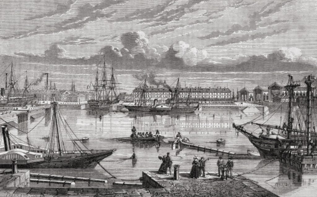 Detail of Cherbourg in the 18th century by French School