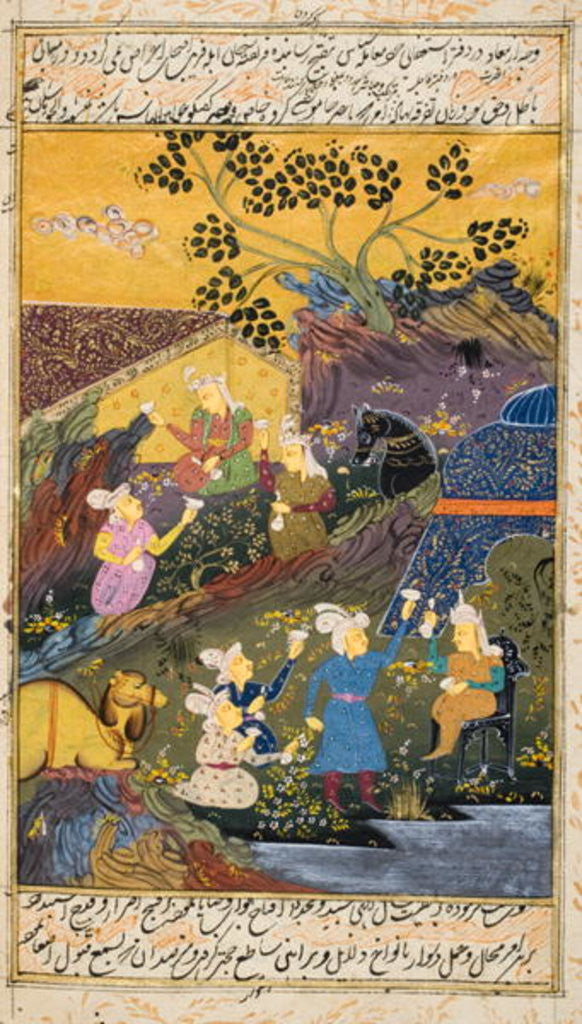 Detail of Drinking party outdoors by river or lake by Persian School