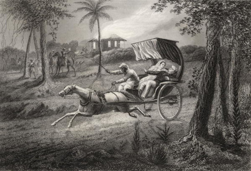Detail of Dr Graham shot in his buggy by the Sealkote Mutineers in 1857 by English School