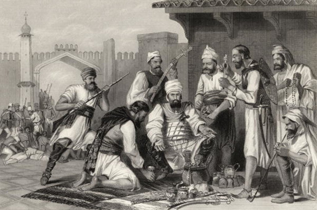 Detail of Sikh troops dividing the spoil taken from mutineers by English School