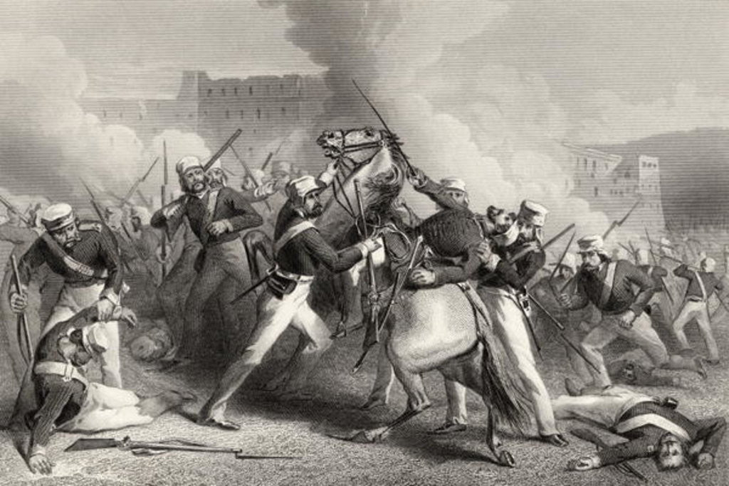 Detail of Death of Brigadier Adrian Hope in the attack on the Fort of Roodmow by English School