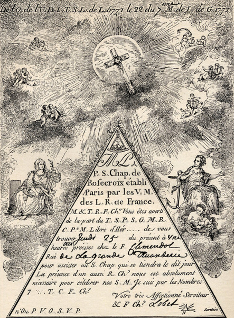 Detail of Invitation from the French Chapter of the Freemasons by French School
