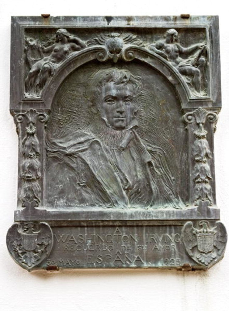 Detail of Plaque commemorating the life of Washington Irving and his love of Spain by Spanish School