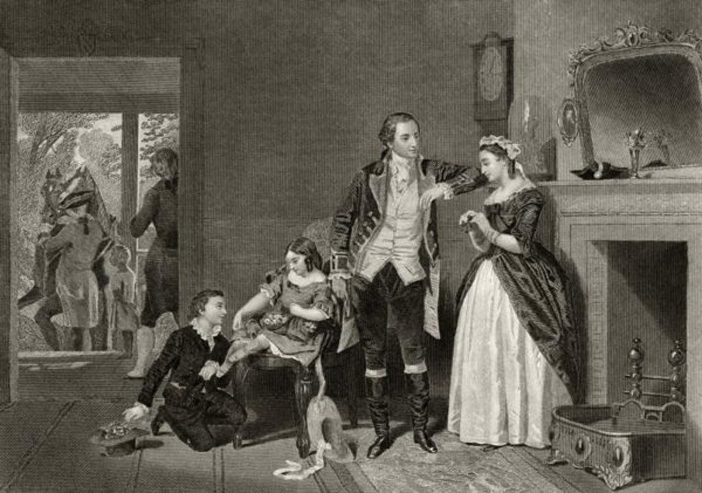 Detail of George Washington's first interview with Mrs Custis by Alonzo Chappel