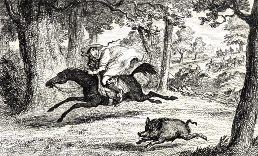 Detail of Cardinal Balue chasing a Boar by George Cruikshank
