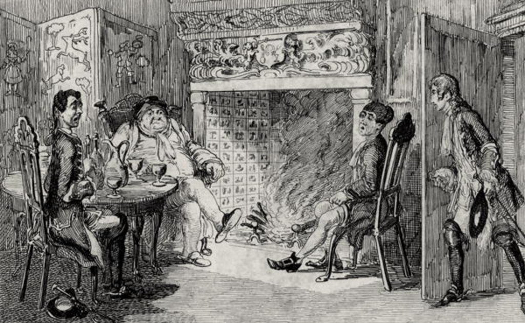 Detail of Francis Osbaldistone at Squire Inglewood's by George Cruikshank