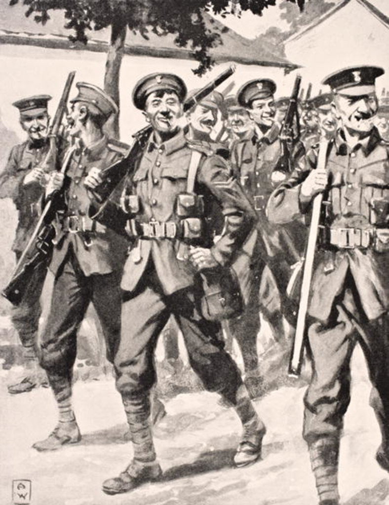 Detail of Caricature-like drawing of confident British troops on way to front line Western Front by English School