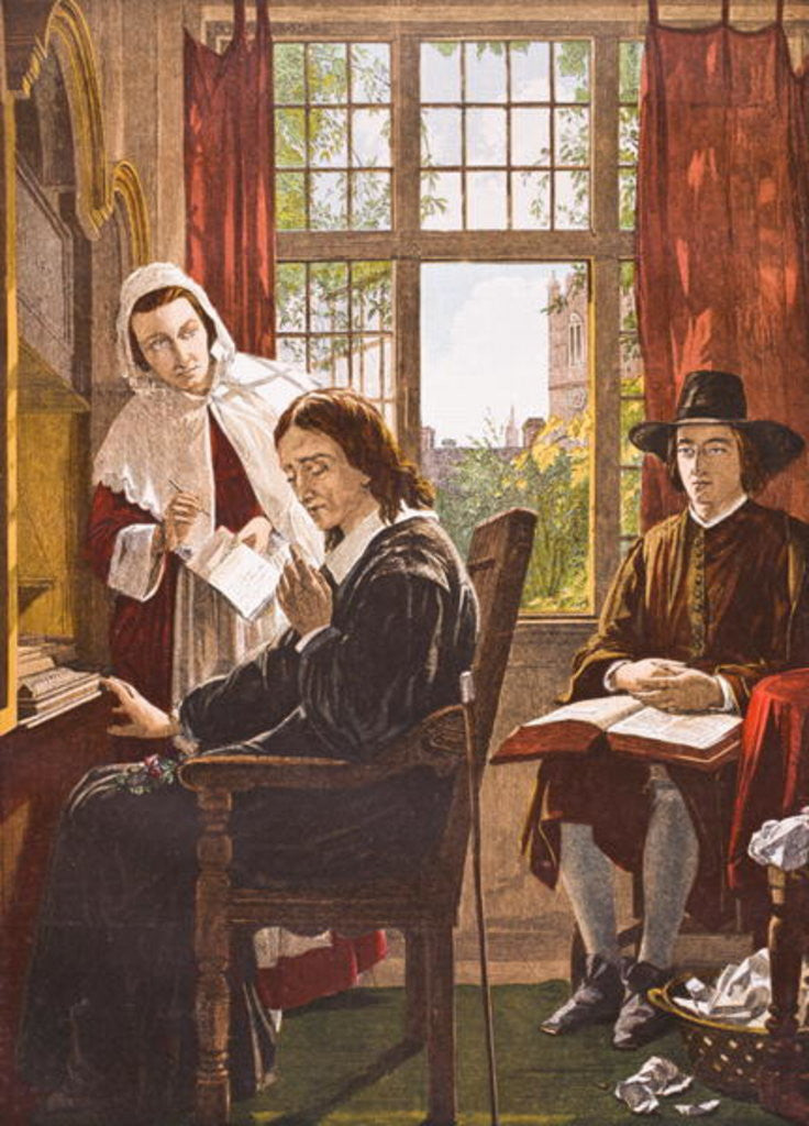 Detail of John Milton dictating 'Samson Agonistes' by English School
