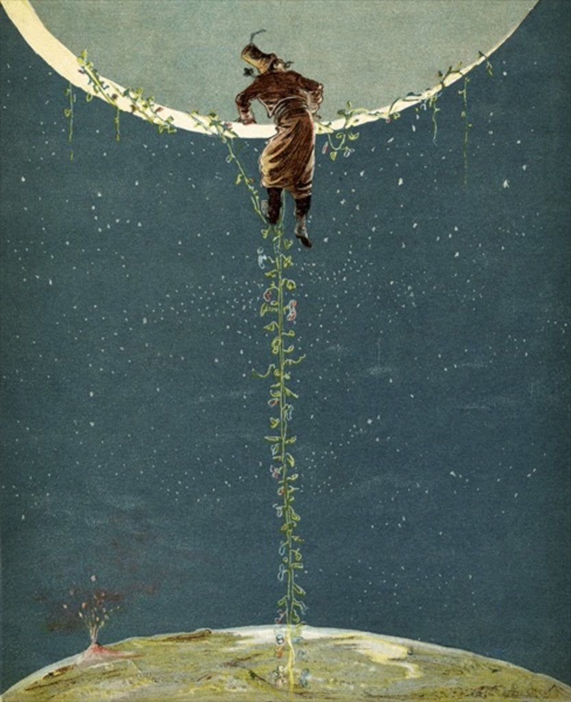 Detail of Baron Munchausen climbs up to the moon by way of a Turkey bean plant by Alphonse Adolphe Bichard