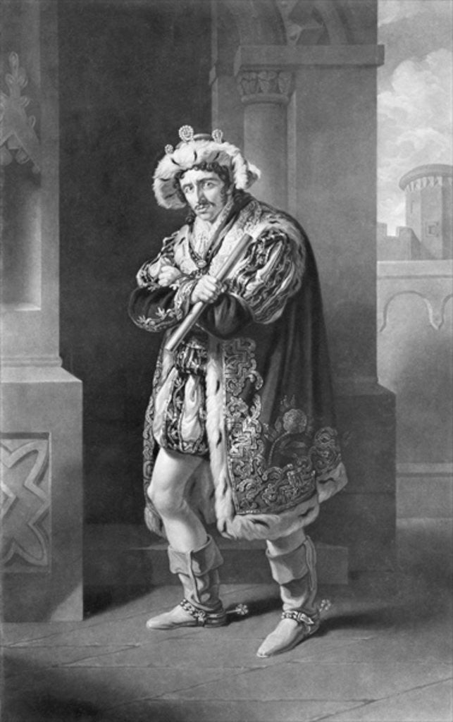 Detail of Edmund Kean in Richard the Third, Act IV, Scene IV, by William Shakespeare engraved by C. Turnerby by John James Halls