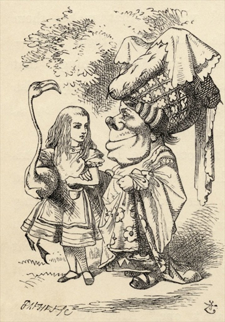 Detail of Alice with flamingo chats with the Duchess by John Tenniel