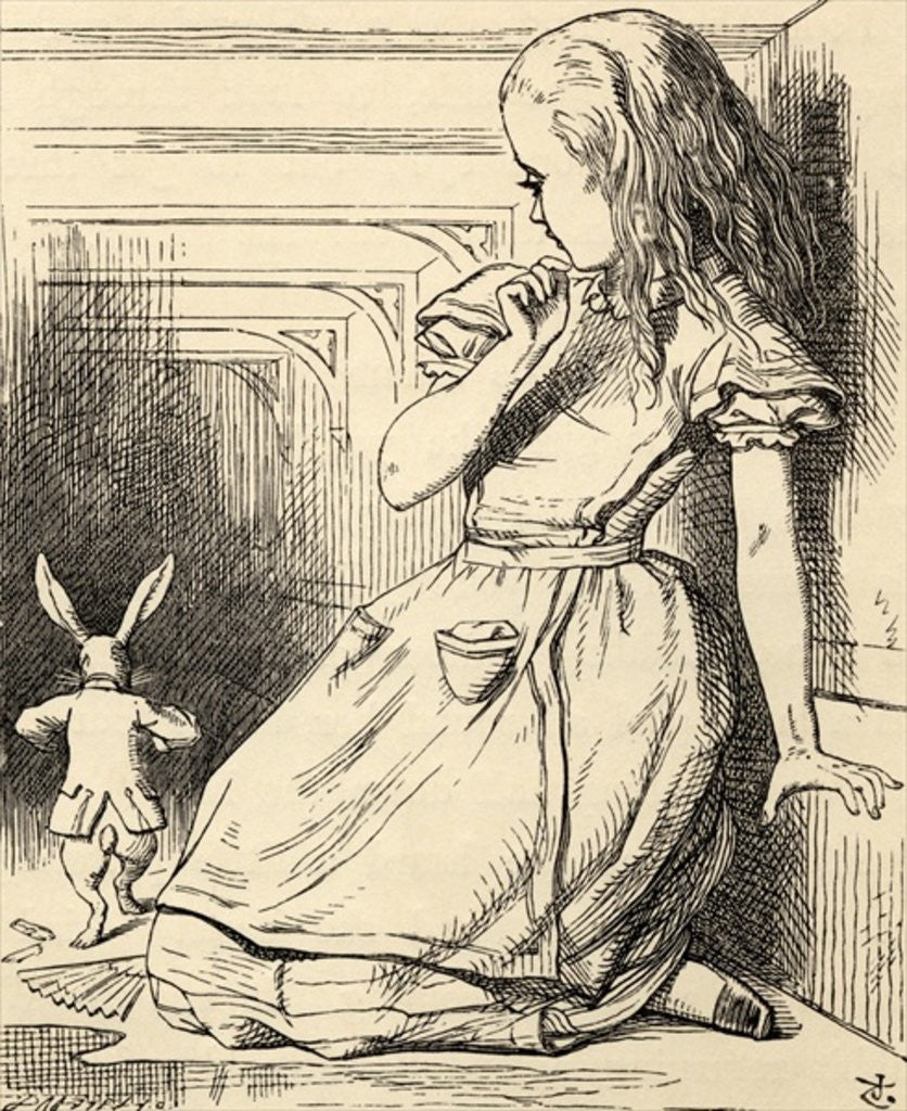 Detail of The White Rabbit is late by John Tenniel