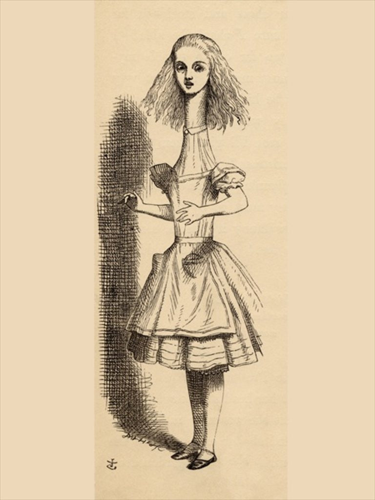 Detail of Alice grows taller by John Tenniel