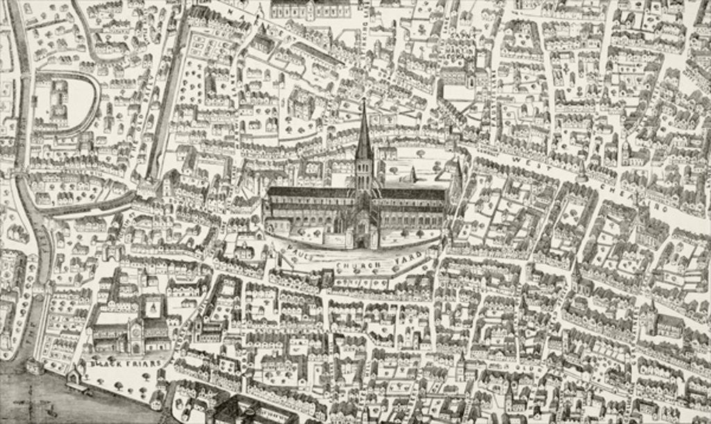 Detail of St. Paul's Cathedral and vicinity in the time of Henry VIII by English School