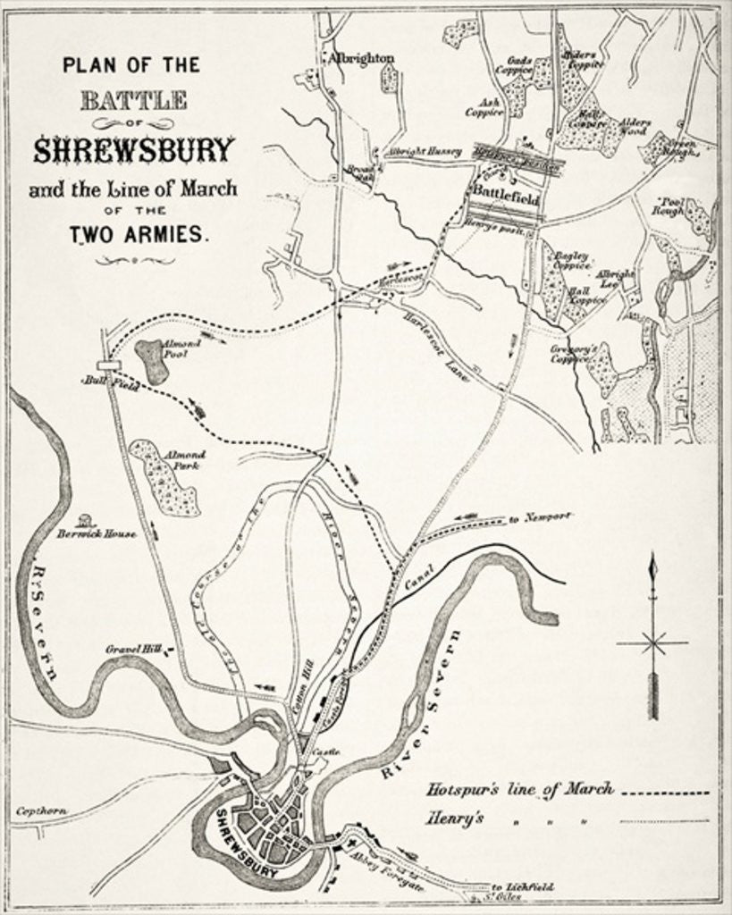 Detail of Plan of the Battle of Shrewsbury by English School