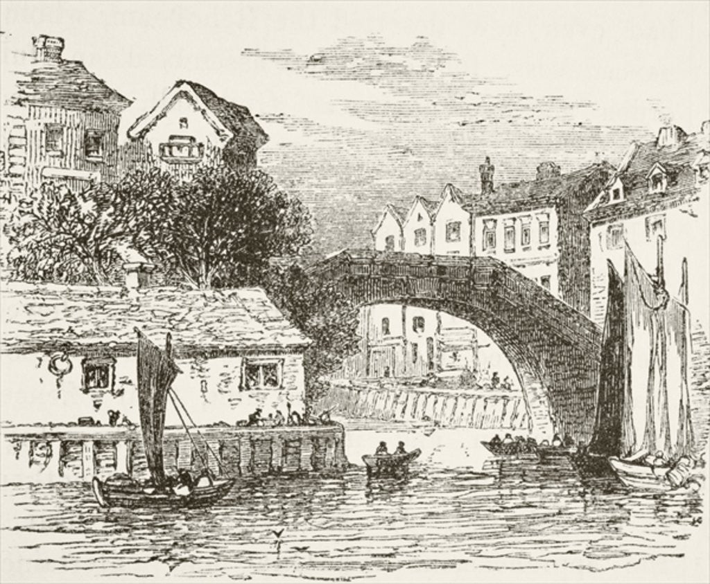Detail of Fleet Bridge, London in the 17th century by English School