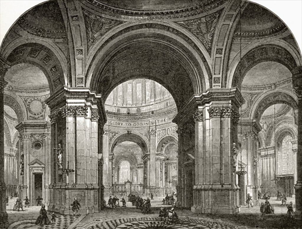 Detail of Interior of the Nave of St. Paul's Cathedral, looking east, as it would have been after Wren's first design by English School