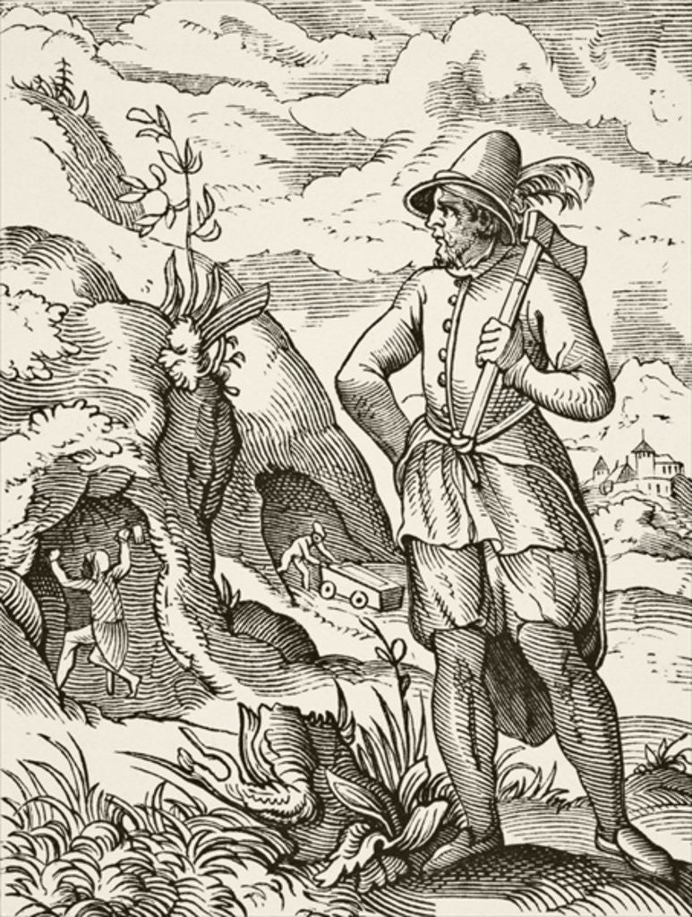 Detail of A miner in the 16th century by French School