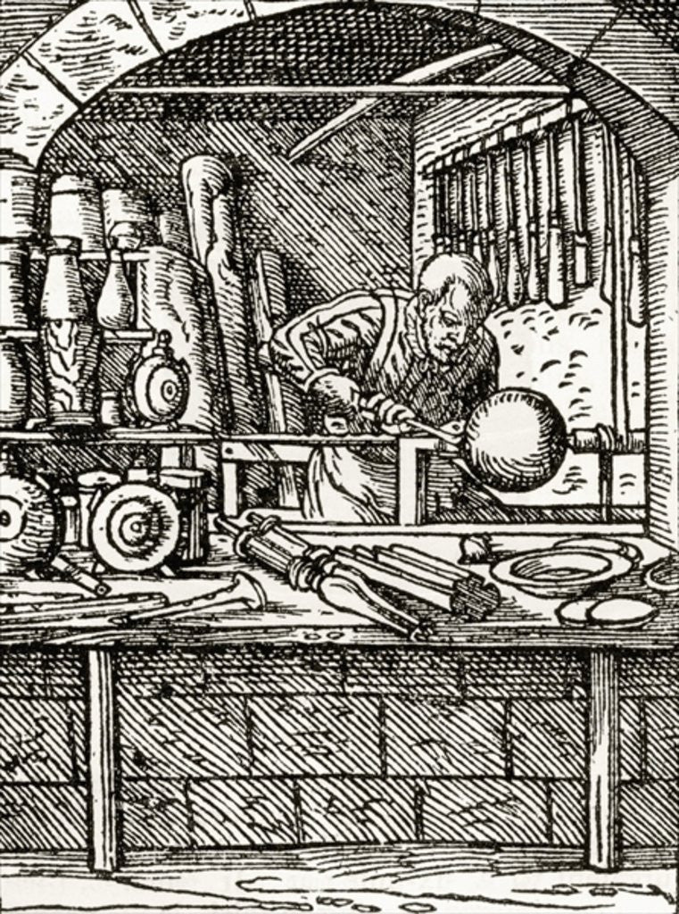Detail of A lathe turner at work in the 16th century by English School