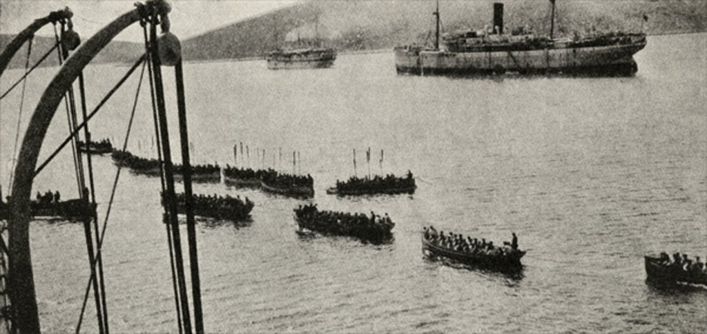 Detail of A landing force leaving the transports for the shore during the Gallipoli Campaign by English Photographer