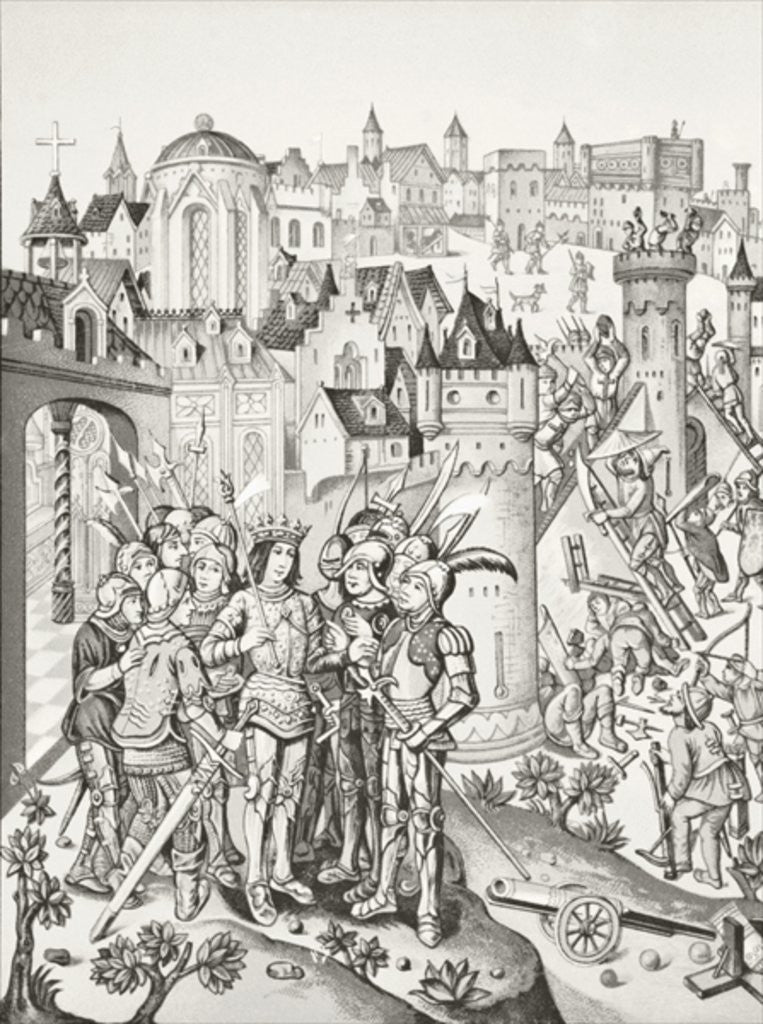 Detail of Siege of a town defended by the Burgundians under Charles VI by English School