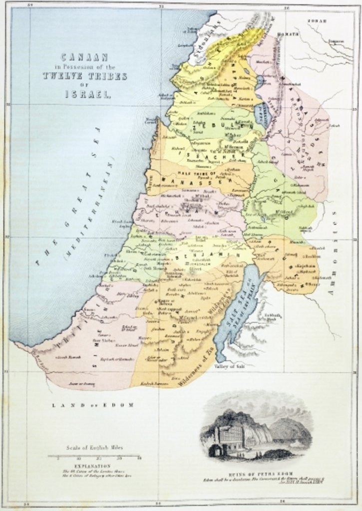 Detail of Canaan as it was divided between the twelve tribes of Israel by English School