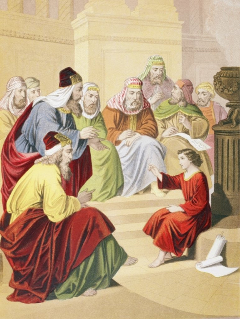 The boy Jesus debating with priests and teachers in the temple