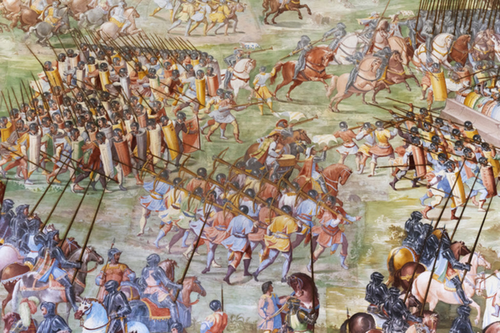 Detail of Detail of fresco in the Hall of Battles of the 1431 Battle of La Higueruela by Niccolo (and workshop) Granello