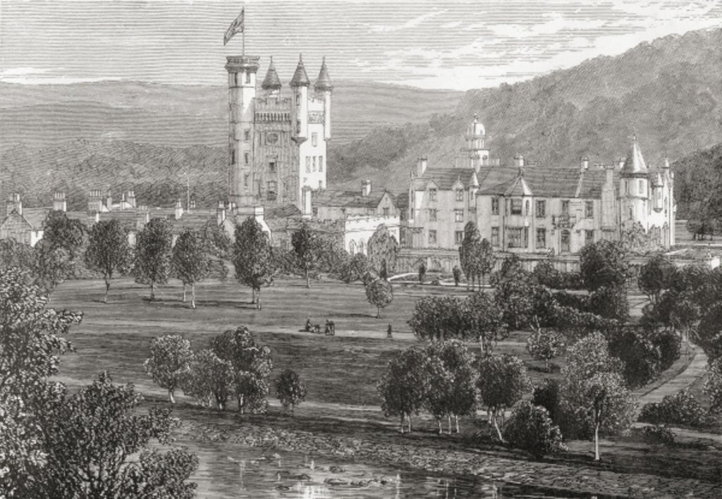 Detail of Balmoral Castle, Aberdeenshire, seen from the river Dee by English School