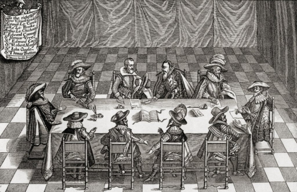 Detail of Great Britain's Council of War during the reign of James I by English School