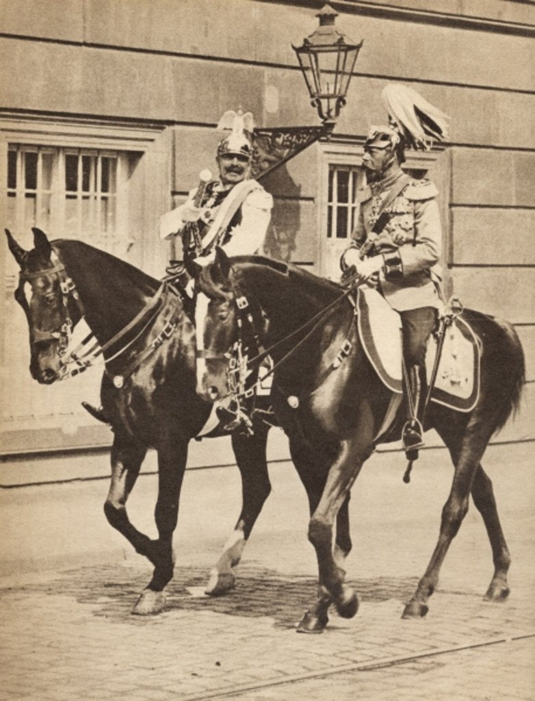 Detail of King George V and Kaiser Wilhelm II leaving Potsdam to attend a review of the troops in 1913 by English Photographer