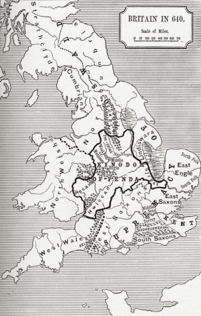 Detail of Map of Britain in 640 by English School